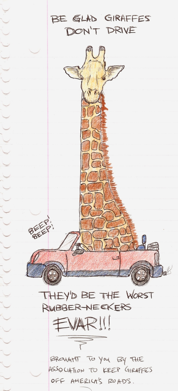 giraffe driving a car